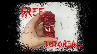 Lighter case ZIPPO BIC monster demon devil Japanese Chinese warrior spirit, polymer clay, handmade