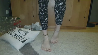 Trample pillow doormat with Nike Air Max TN socks and Barefeet  crush fetish ASMR #CRUSHFETISH_8989