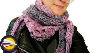 Уютный и теплый шарф крючком | Шарфы шали косынки и бактусы на осень