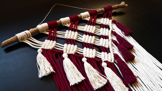 Two-tone Macrame Wall Decor with Tassels   NEW Design