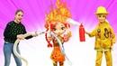 Кукла Барби сама тушит пожар! Видео для девочек про куклу Барби и профессии